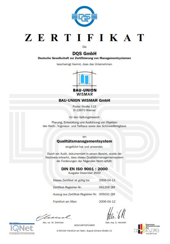 Bauunternehmen Wismar bauunion wismar gmbh zertifikate hochbau tiefbau mecklenburg